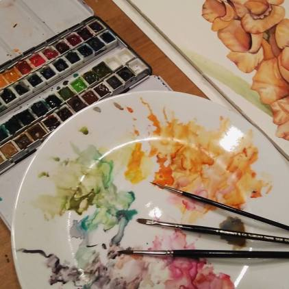Mixing Surface, Studio Watercolor Palette and corner of Gladiolus painting